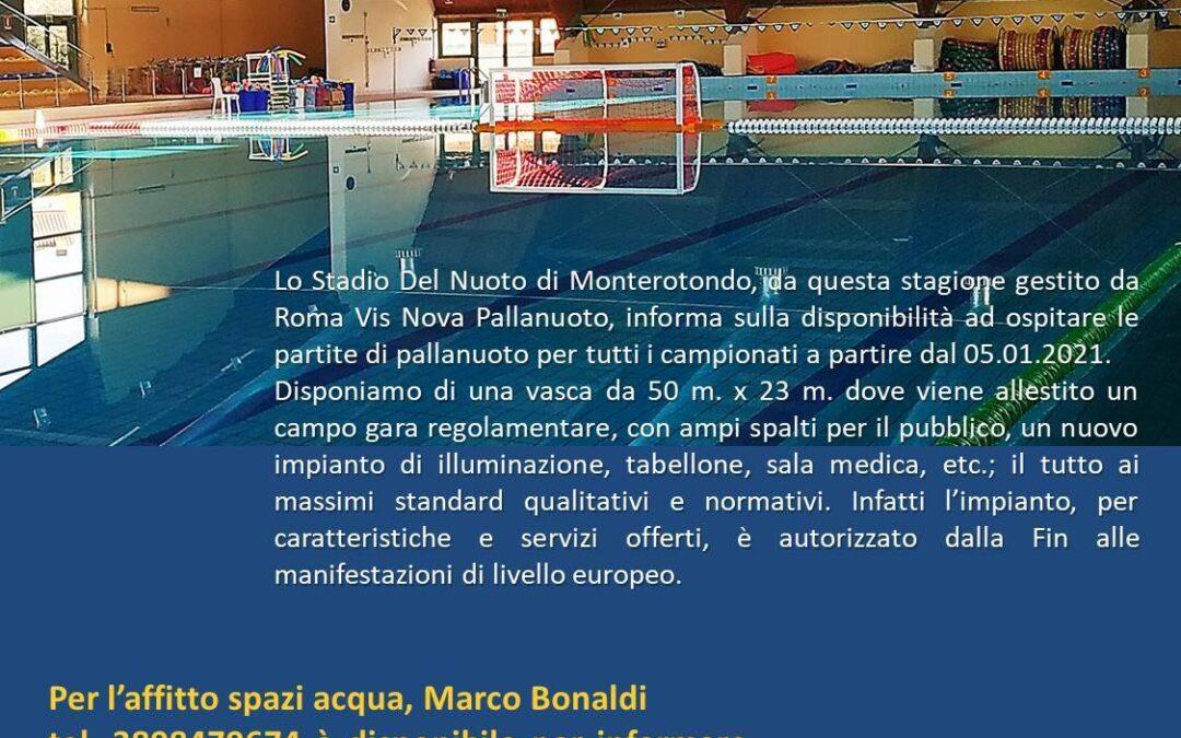 Un impianto europeo per la pallanuoto laziale
